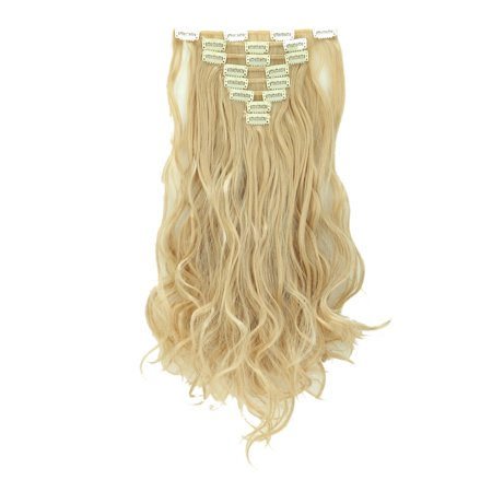 """S-noilite 175g 17""""/23""""/24""""/26"""" Women Silky Soft Fashion Full Head Clip in Hair Extensions Straight Curly Wavy Long Hair 8 pcs Dark Blonde Mix Bleach Blonde-Curly,17""""-Curly-175g"""