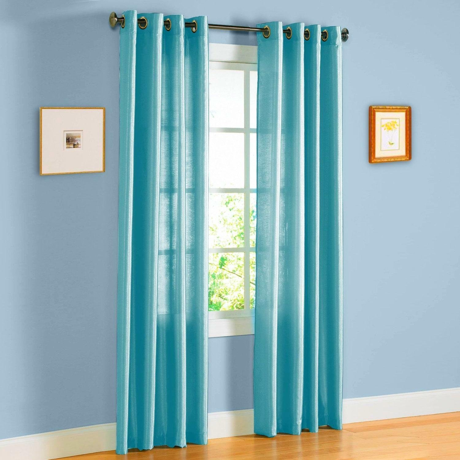"Qutain Linen Faux Silk Grommet Curtain Window Panel Solid 55"" x 84 - Turquoise"