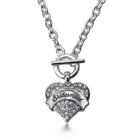 Silver Bridesmaid Pave Heart Toggle Necklace