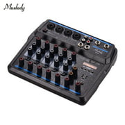Muslady U6 Musical Mini Mixer 6 Channels Audio Mixers BT USB Mixing Console with Sound Card Built-in 48V Phantom Power Plug