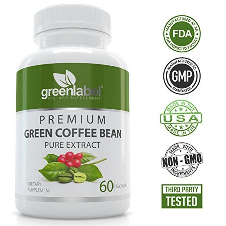 Green Label - 100% Pure Green Coffee Bean Extract -  Natural Weight Loss Pills, Appetite Suppressant, Metabolism Booster, Fat Burner and Blood Sugar Support Supplement, for Women and Men,