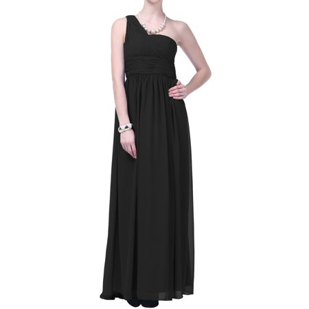 Faship One Shoulder Draped Long Evening Gown Formal Dress Black -