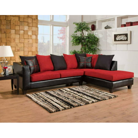 Fabulous 424184 04 Sec Mu 2 Pc Sectional Sofa With Left Arm Facing Sofa And Right Arm Facing Chaise In Jefferson Black And Victory Lane Cardinal Gmtry Best Dining Table And Chair Ideas Images Gmtryco