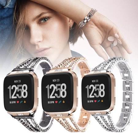 Bands Compatible for Fitbit Versa, EEEKit Stainless Steel Metal Jewelry Bracelet Bangle Wristband with Bling Diamond Crystal Rhinestone for Fitbit Versa/Fitbit Versa Lite Smartwatch
