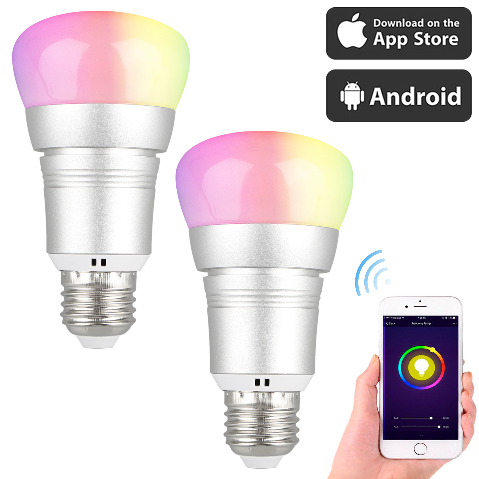 2-pack LED Smart WiFi Light Bulb, 7W (60W Incandescent Equivalent), RGB Multicolor Compatible with Alexa Google Home Assistant, Decorative Lamp for Christmas, Halloween, Festival, Party
