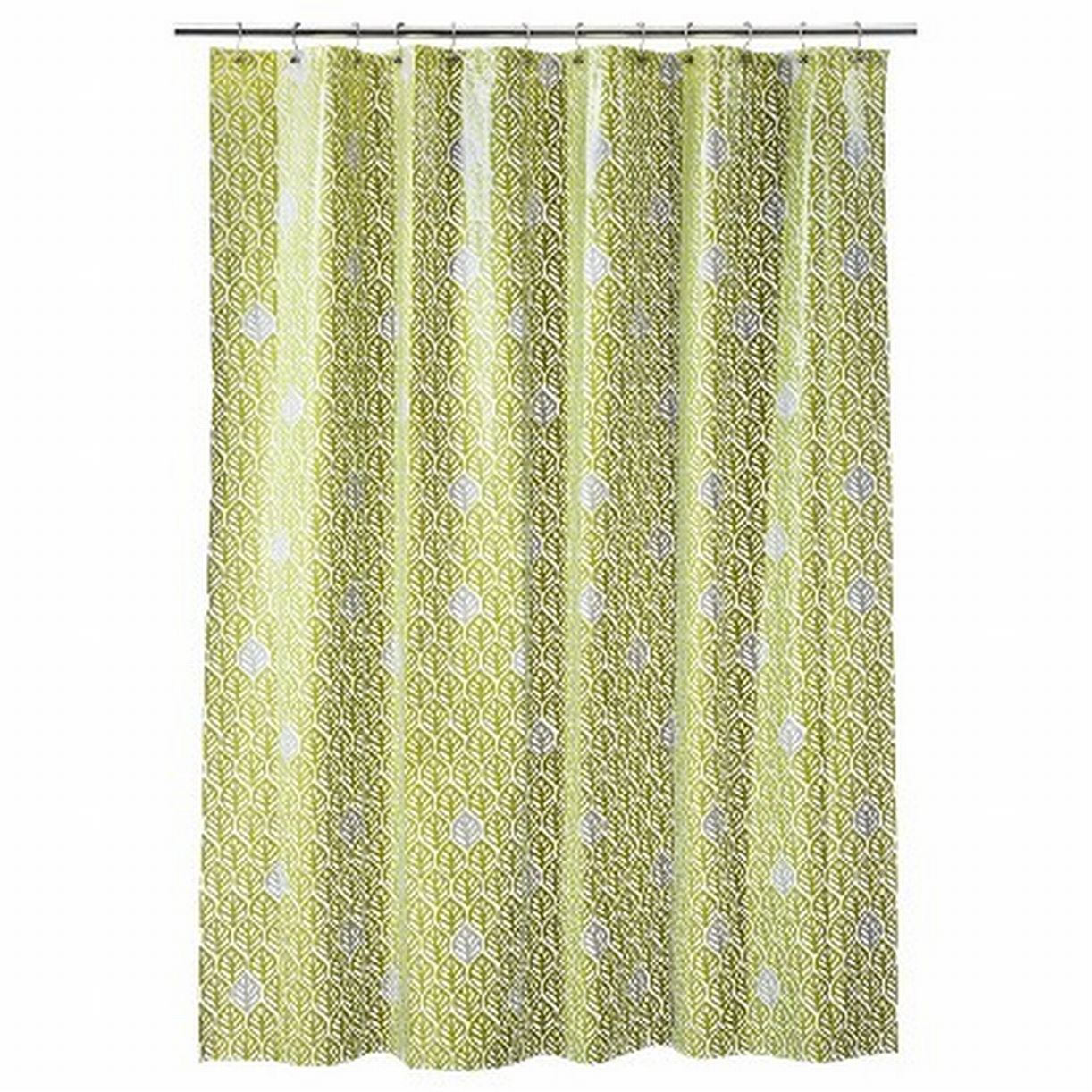 Room Essentials Green Skeleton Leaf PEVA Vinyl Shower Curtain Bath