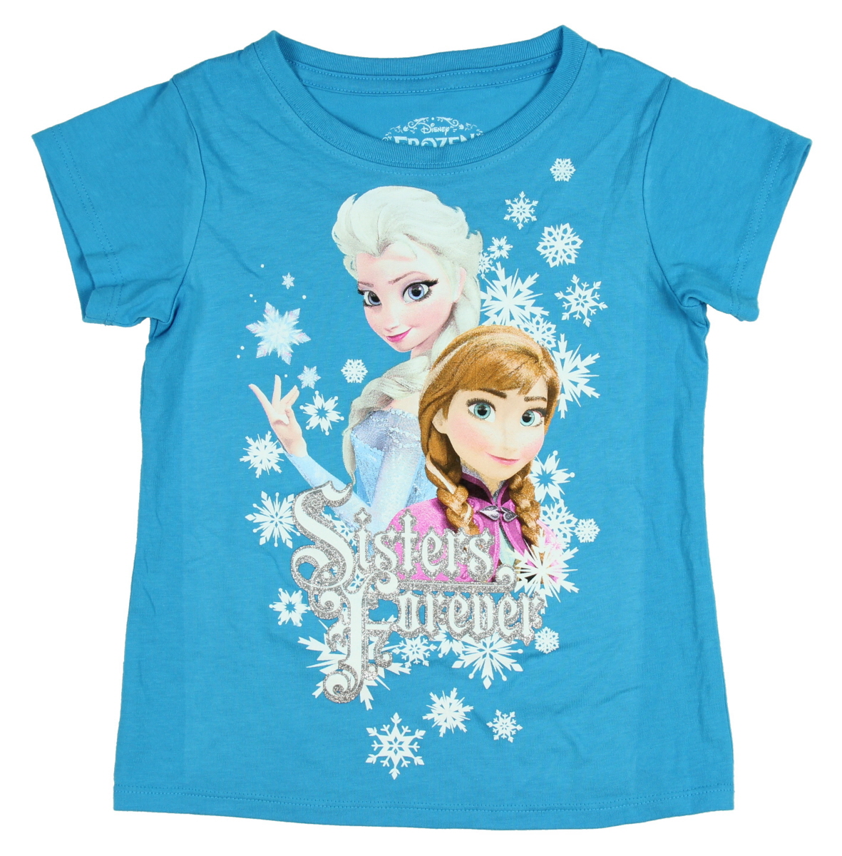 6 8 10 New Disney Girls Frozen Sisters Blue Tshirt Official Exstore Age 4-5