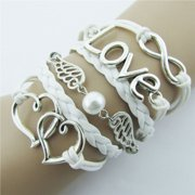 Mosunx DIY Style Jewelry fashion Leather Cute Infinity Charm Bracelet Silver