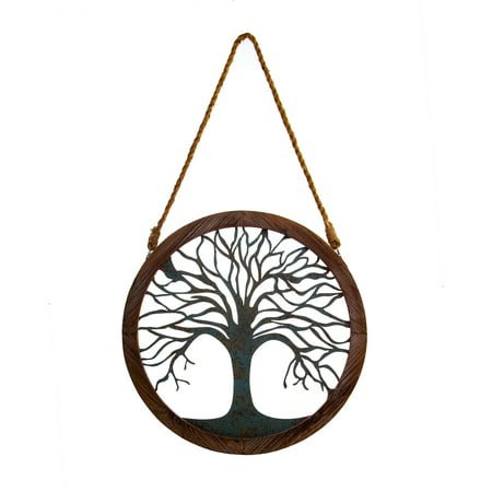 Patton Wall Decor Rustic Round Wood and Patina Decorative Tree Wall Decor