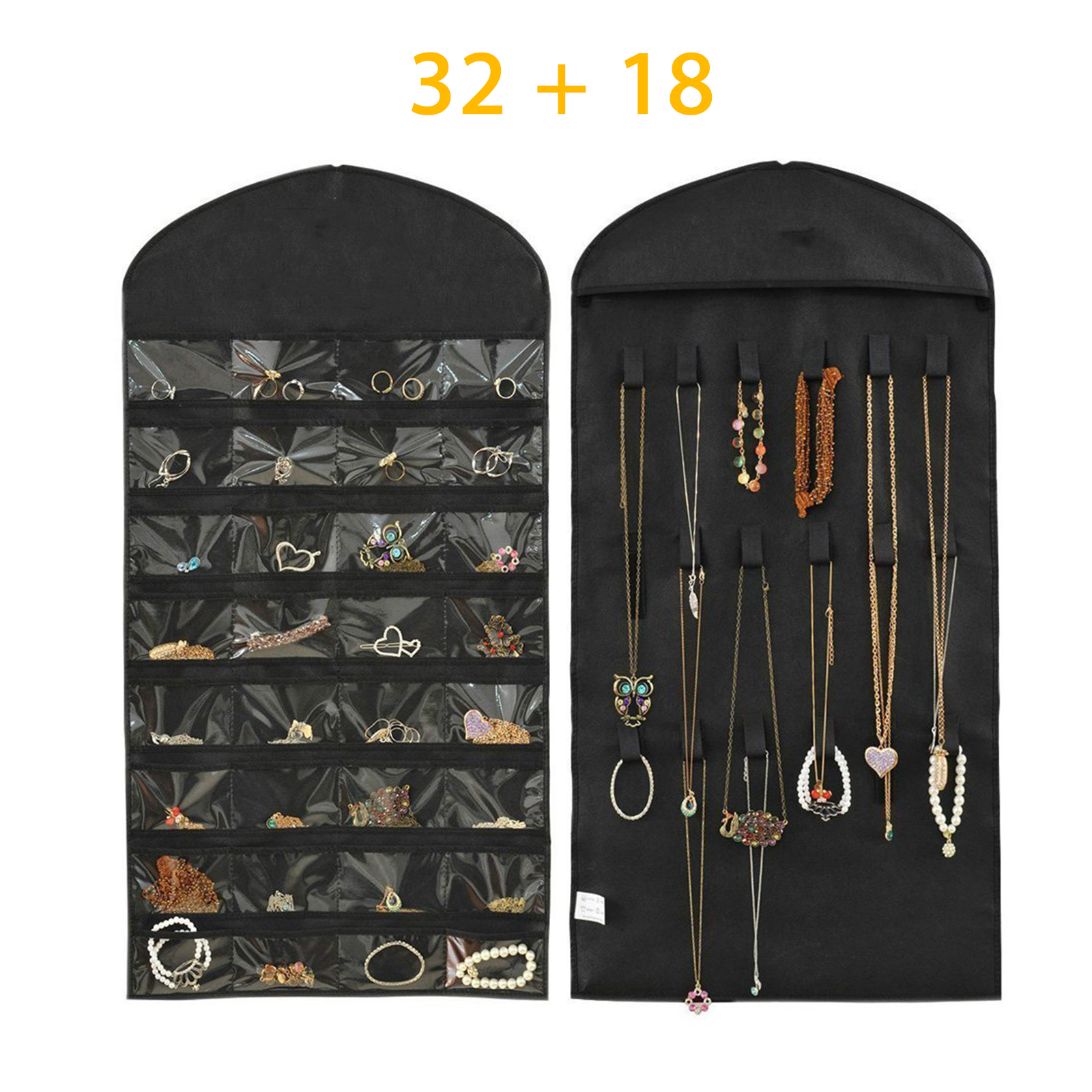 Hanging Bag, EEEKit 32 Pockets Foldable Jewelry Necklace  Hanging Bag Dual Sided Storage Organizer Display Case Bag with Clear PVC Window