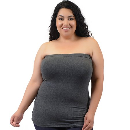 4107699e90 Stretch Is Comfort - Plus Size Cotton Strapless Tube Top - X-Large (12-14)    Charcoal Gray - Walmart.com