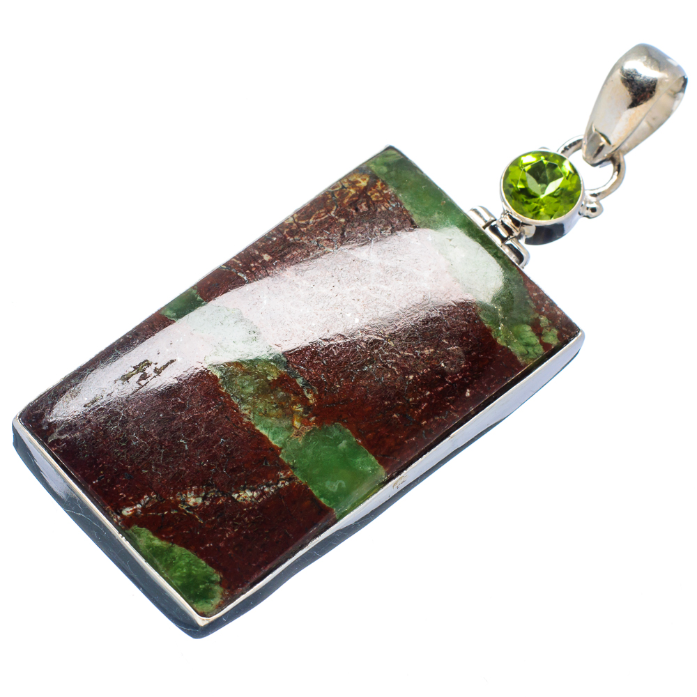 "Ana Silver Co Huge Boulder Chrysoprase, Peridot 925 Sterling Silver Pendant 2 1 4"" PD530568 by Ana Silver Co."
