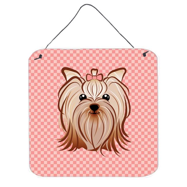 Checkerboard Pink Yorkie Yorkishire Terrier Aluminum Metal Wall Or Door Hanging Prints, 6 x 6 In.