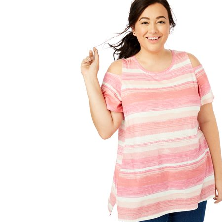 01ff8a59192 Woman Within - Plus Size Short Sleeve Cutout Cold Shoulder Tee - Walmart.com