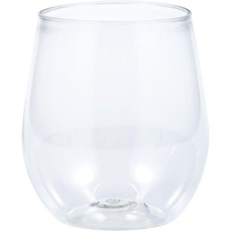 Creative Converting Clear Plastic Stemless Wine Glasses 14 Oz, 4 ct](Stemless Wine Glasses Plastic)