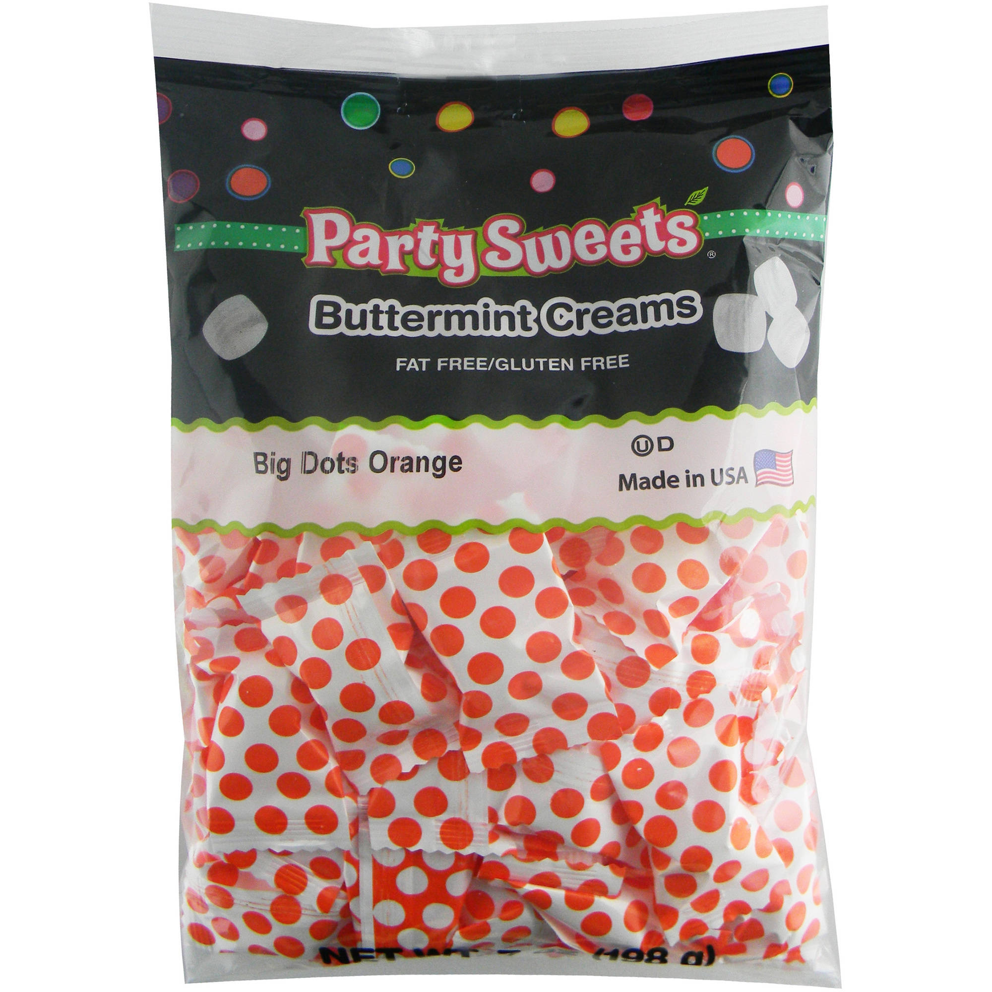 Party Sweets Big Dots Orange Buttermint Creams Candy, 7 oz