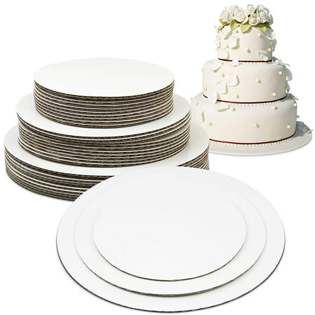 Cardboard Cake Stands ([30 Pack] 8 10 12 Inch Round Tierd Cake Boards Combo - Grease Proof Cardboard Disposable Layered Cake Pizza Circle Scalloped White Stackable Tart Decorating Base)