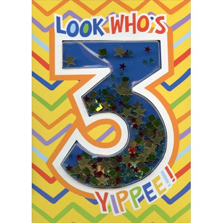 Paper House Productions Look Who's 3 Confetti Shaker 3D Age 3 / 3rd Birthday Card](Halloween Shaker Cards)