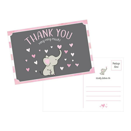 50 4x6 Elephant Girl Baby Shower Thank You Postcards Bulk, Beautiful Pink Modern Cute Boho Blank Thanks Note Card Stationery Appreciation (Note Stationery Cream)