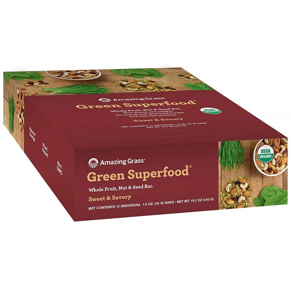 Amazing Grass Green Superfood Fruit, Nut, & Seed Bars, Sweet & Savory, 12 Ct