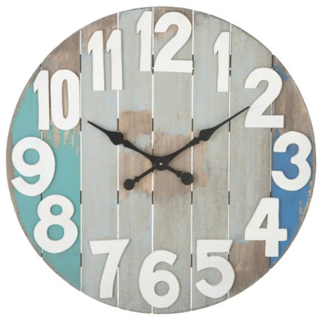 "29"" Weathered Coastal-Style Slatted Wood Wall Clock with Aqua and Blue Accents"