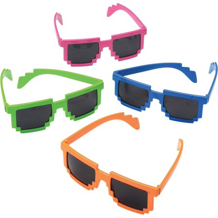 Neon Doodle Party Supplies (Neon Robot 8-Bit Plastic Glasses (Each) - Party)