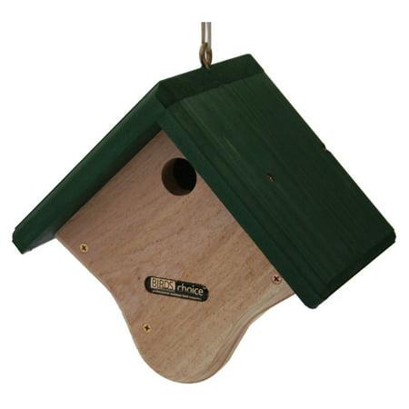 Birds Choice Natural Cedar Wren Bird House with Stained Green Roof