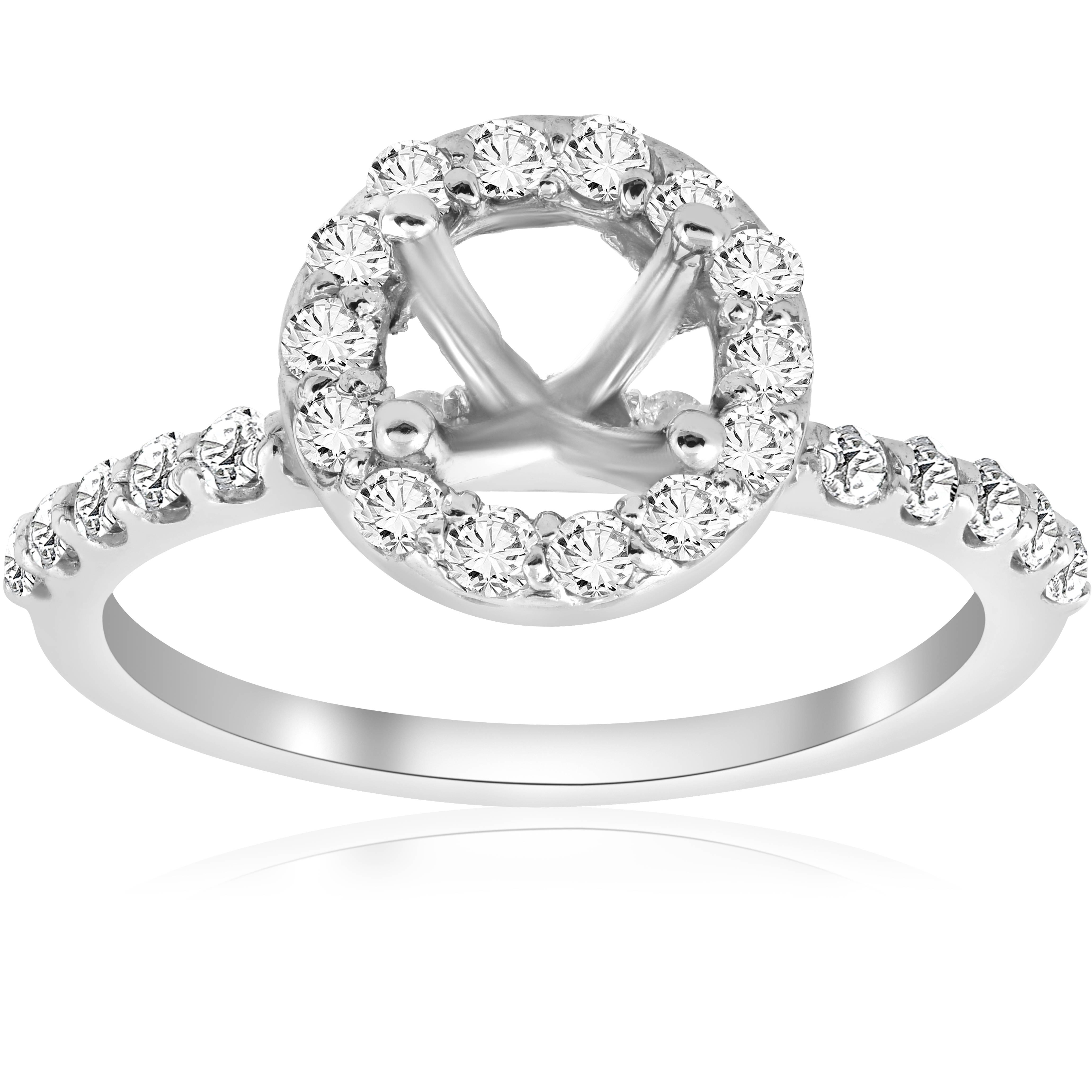 1/2ct Diamond Halo Engagement Ring Setting 14K White Gold Semi Mount Jewelry - image 3 of 3