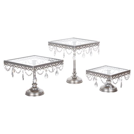 Amalfi Décor 3-Piece Square Glass-Top Crystal Cake Stand Set (Silver) | Stainless Steel Frame ()
