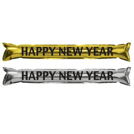 Club Pack of 25 Silver, Black and Gold New Year's Eve Inflatable