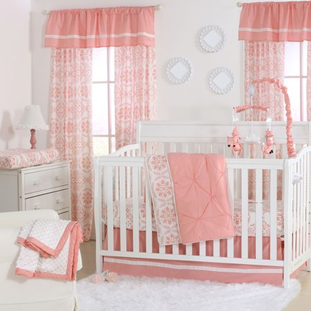 The Peanut Shell 4 Piece Baby Girl Crib Bedding Set - Coral Pink Pintuck  and Floral - The Peanut Shell 4 Piece Baby Girl Crib Bedding Set - Coral Pink