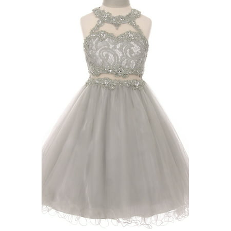 Big Girls' Sparkle Rhinestones Halter Lace Junior Bridesmaid Pageant Flower Girl Dress Silver 12 (C50C40C)