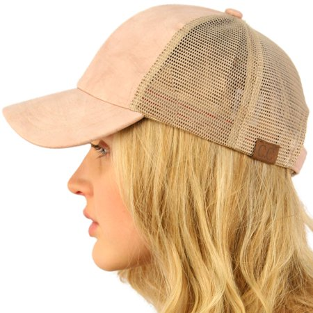 CC Everyday Mesh Trucker Faux Leather Plain Blank Baseball Cap Hat Solid (Faux Leather Hat)