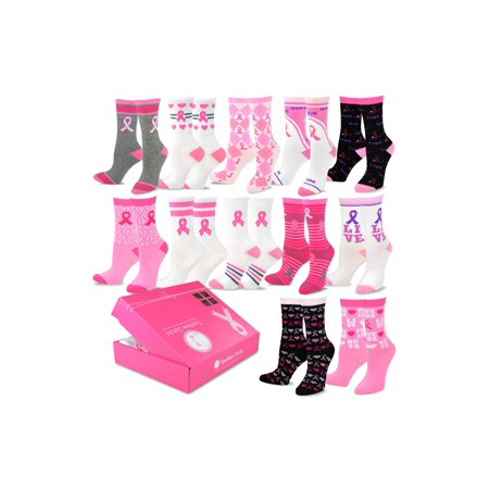 TeeHee Breast Cancer Awareness 12-Pack Gift Socks for Women with Gift Box - Breast Cancer Socks Bulk