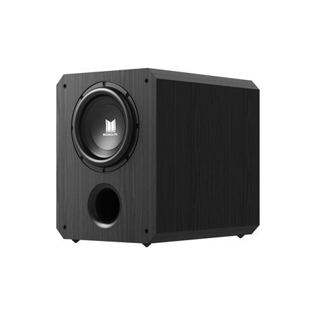 Monoprice Monolith 10 Inch Powered Subwoofer - Black | THX Select Certified, 500 Watt Amplifier, 10 Inch Driver For Studio & Home