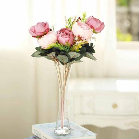 Efavormart 14 Pcs Multicolors Peony Artificial Silk Flower Bouquets Wedding Decoration (Artificial Flower Peony)