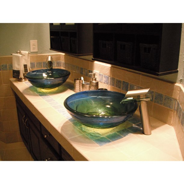 Novatto Mare Glass Vessel Sink Blue, Green Glass Vessel Bathroom Sinks