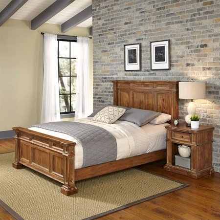 Home Styles Americana 2 Piece Queen Bedroom Set in Natural Acacia