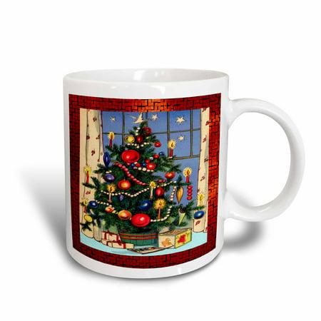 3dRose Old Fashion Christmas Tree, Ceramic Mug, 11-ounce (Old Fashioned Christmas Decorating Ideas)
