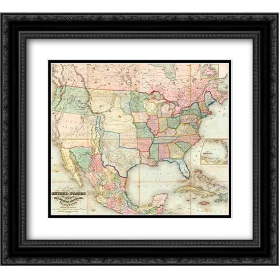 Map Of The United States Of America 1848 2x Matted 22x20 Black