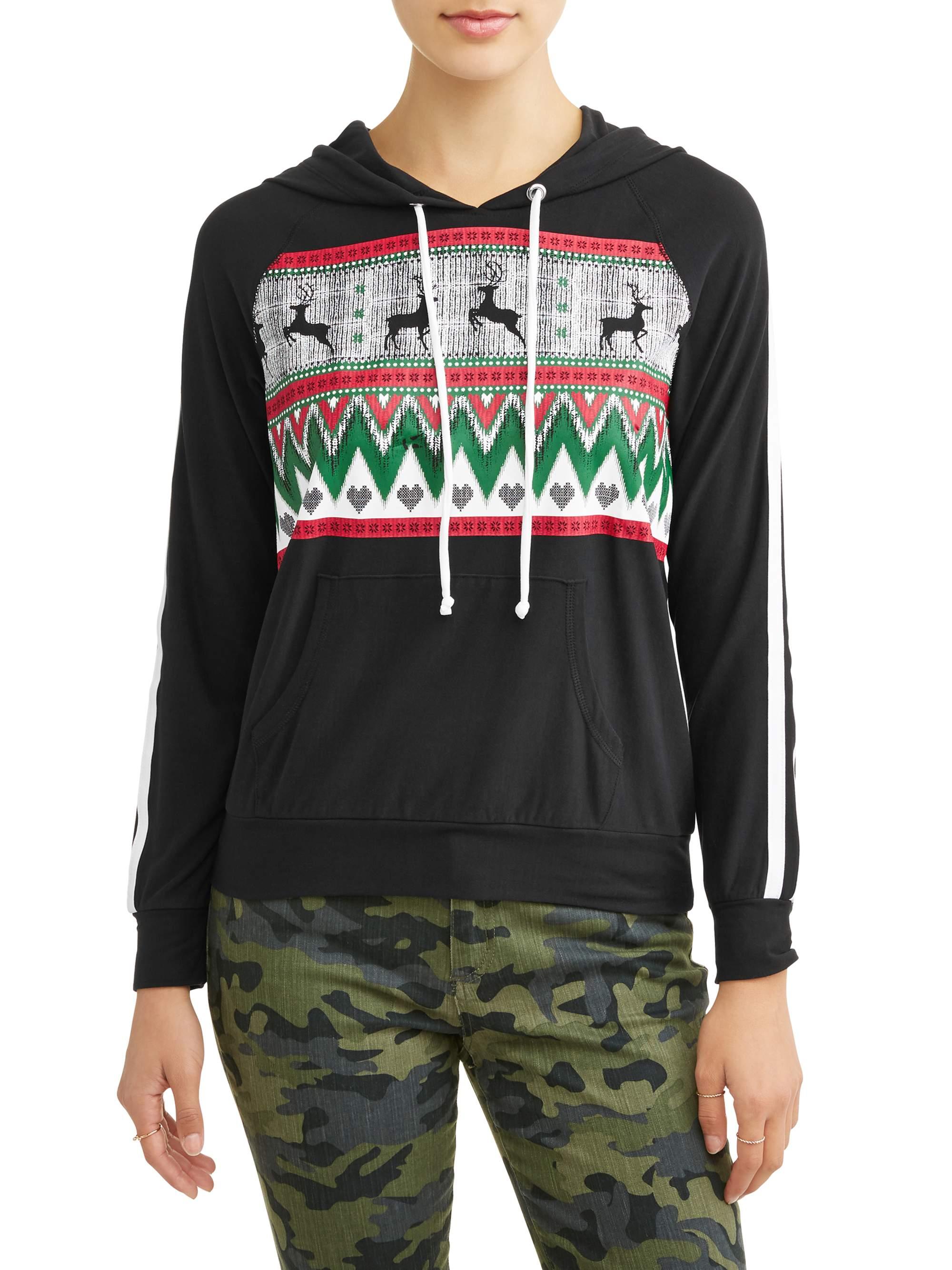 Juniors' Varsity Stripe Holiday Graphic Christmas Pullover Hoodie