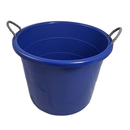 Your Zone 17 Gallon Tub with Grey Rope Handles, Stadium Blue, Set of