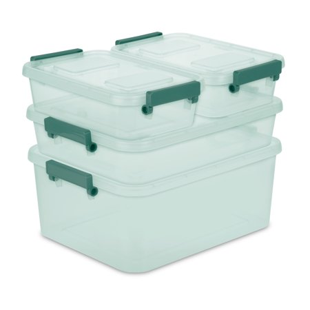 Sterilite Set of 4 Modular Latch Boxes Aqua Slate Tint