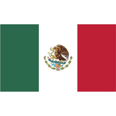 2-Pack Mexico Flag Decal Sticker | 5-Inches By 3-Inches | Laminated Vinyl Decal | PDS483