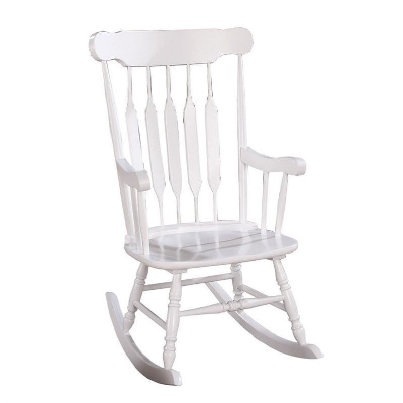 Bowery Hill Slatted Back Rocking Chair in White - image 2 of 2