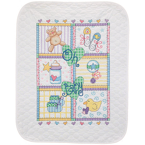 """Dimensions Baby Hugs """"Baby Square"""" Quilt Stamped Cross Stitch Kit, 34"""" x 43"""""""