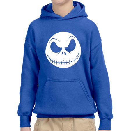New Way 1122 - Youth Hoodie Nightmare Before Christmas Jack Skelleton Face Unisex Pullover Sweatshirt Medium Royal Blue