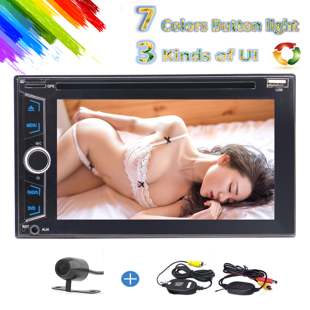 Newest product 6.2-inch Indash Double DIN Touch Screen Car DVD Player Car Stereo with Bluetooth USB SD Mp3 MP4 Radio 1080P 3 kinds UI for Universal(No GPS)+ Wireless camera Include!!