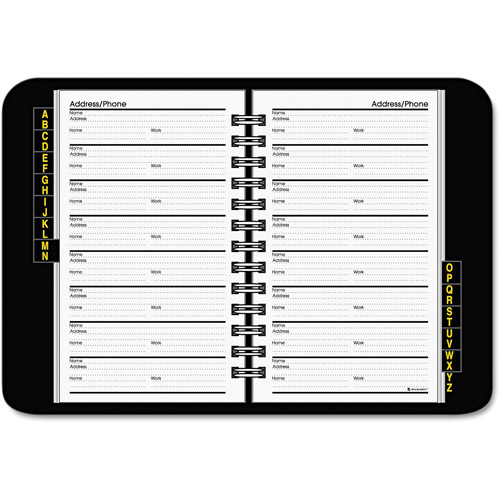 AT-A-GLANCE Wirebound Classic Telephone/Address Book, Black