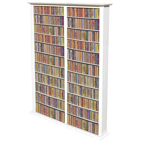 Venture Horizon Double 76″ Tall CD DVD Wall Media Storage Rack-White